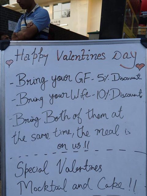 Special offering for Valentine's Day in Bangalore