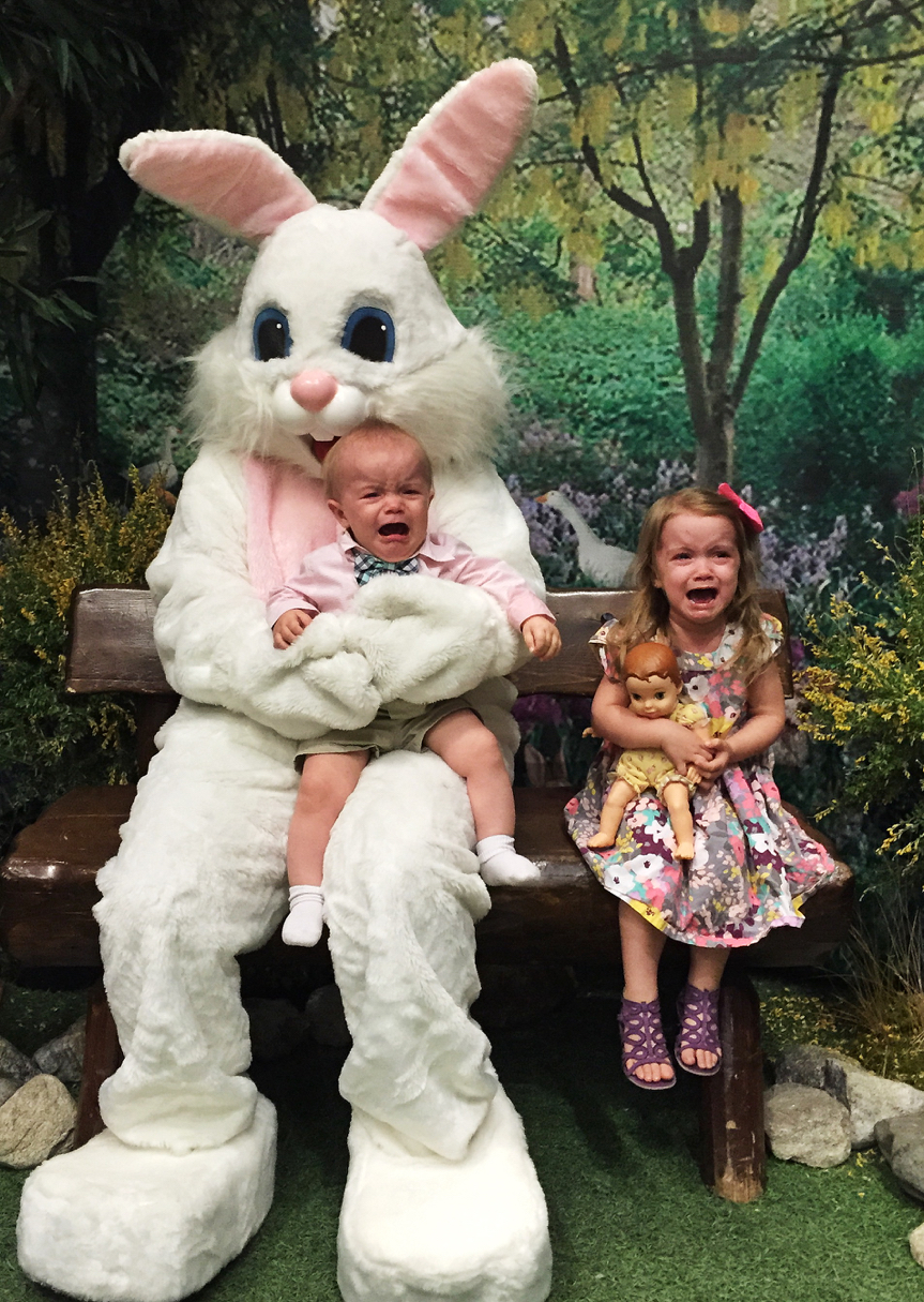 Waited over an hour and a half for a picture with the Easter Bunny for my two kids. Was it worth it? #photofail