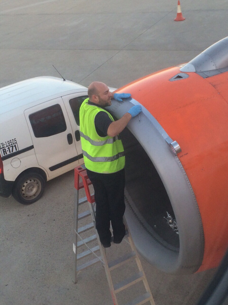 Ladies and gentlemen, we will depart just as soon as our mechanic finishes taping our engine back together!