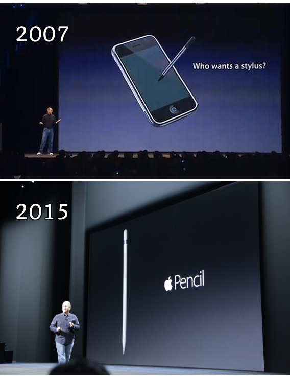 Apple on the stylus then vs now