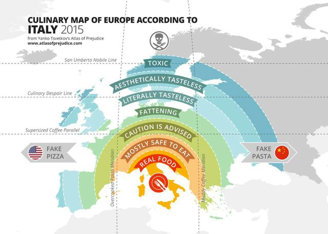 Culinary map of Europe according to Italy