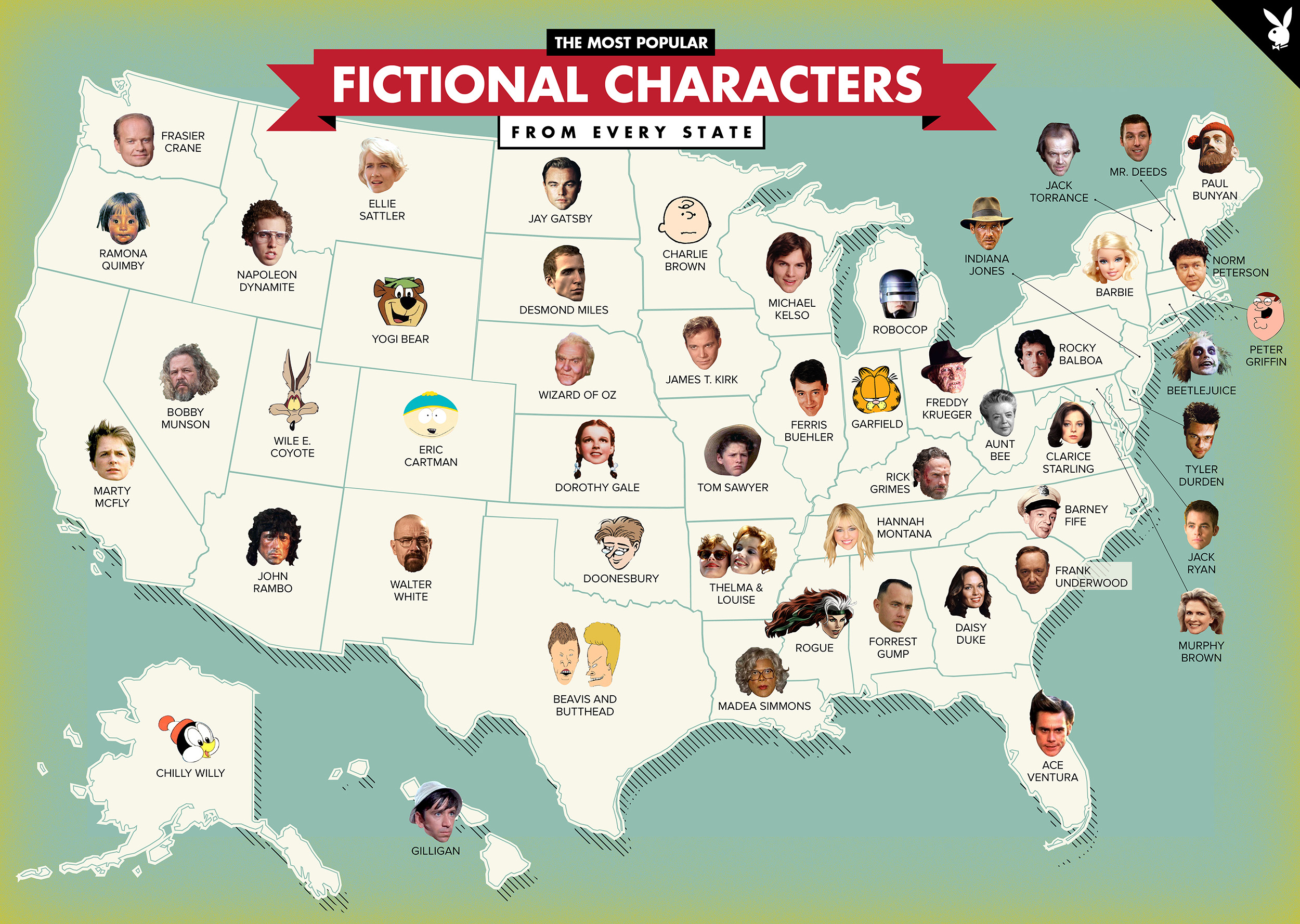 Map of each states most famous fictional characters