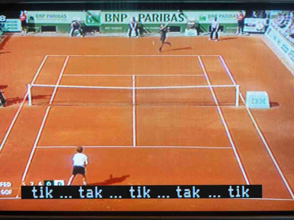 This is one of those times when closed-captioning help spell out the drama of a tennis match