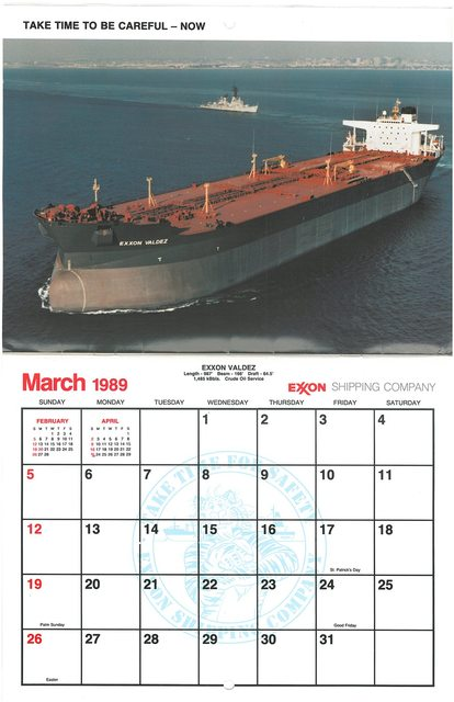 For irony, Exxon's March 1989 calendar is tough to beat